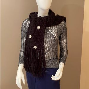 Beautiful thick black knit scarf with bling
